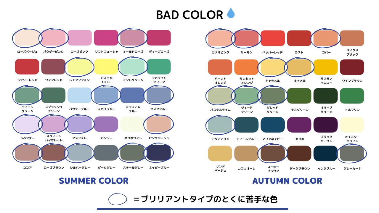 パーソナルカラー診断 12タイプ ブリリアントタイプ 色